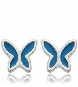 Brincos criança prata Papillons de nuit azul