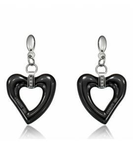 Brincos feminino cerâmica Shanice coração preto