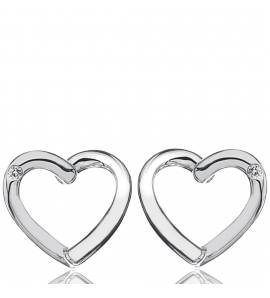 Brincos feminino prata Diamond Heart coração