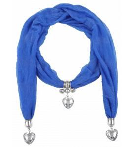 Cachecol feminino Zélia coração azul