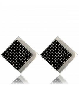 Cercei barbati argint Pixelisée  negru