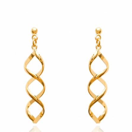 Cercei femei placate cu aur  ondulation vivante 2