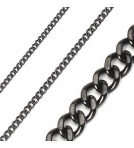 Chaine acier noir maille gourmette 3mm