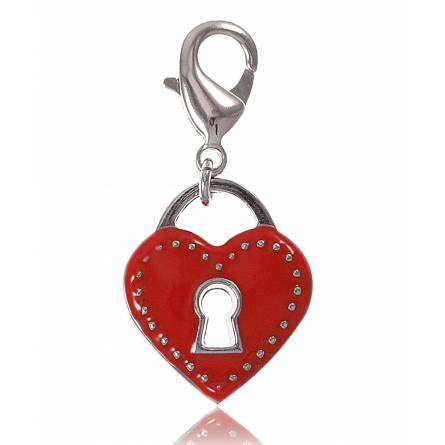 Charm cadenas dans coeur rouge