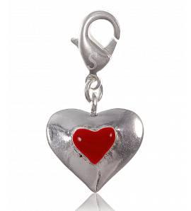 Charm coeur rouge plaqué argent