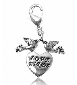 Charm love birds plaqué argent