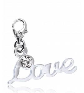 Charms donna metallo argentato Love