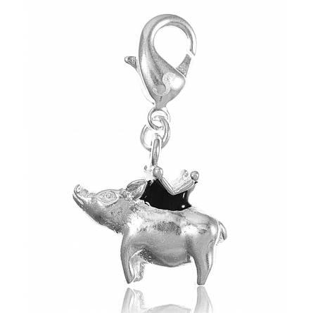 Charm's femei argint metalic Cochon