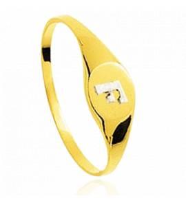 Chevalière or jaune et blanc Enise