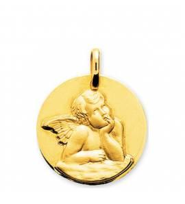 Children gold Ange Raphael médaillon circular pendant