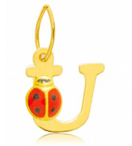 Children gold Moderne letters yellow pendant
