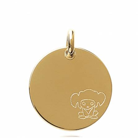 Children gold plated Personnage circular pendant