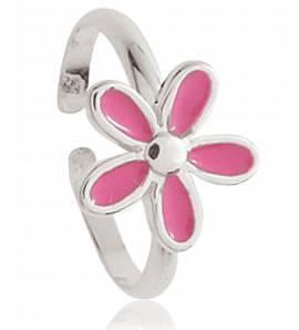 Children silver Petale rose pink ring