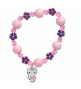 Children wood Fantasy Heart pink bracelet