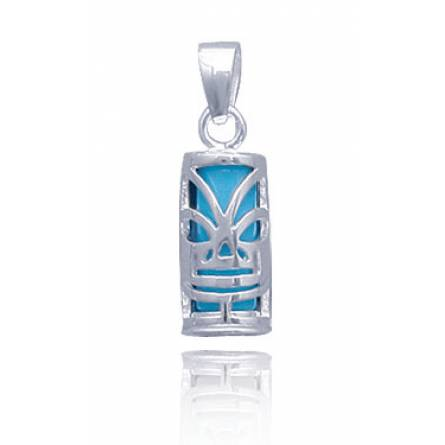 Ciondolo argento  le Tiki tahiti turchese