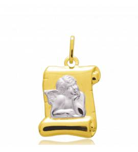 Ciondolo bambino oro  Ange Raphaël parchemin pergamena