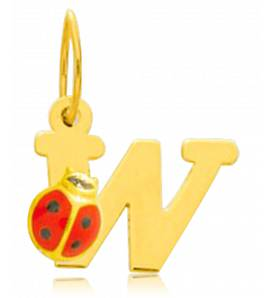Ciondolo bambino oro Moderne lettera giallo