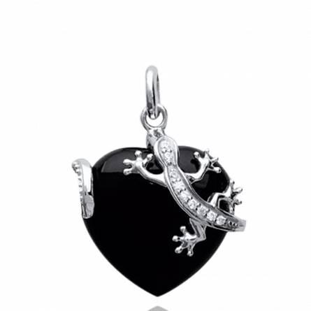 Ciondolo donna argento Bidelia cuore nero