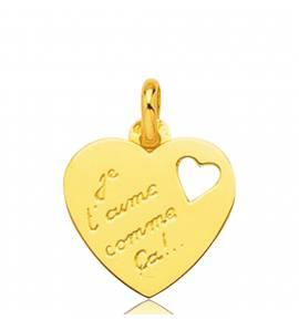 Ciondolo donna oro Je T'aime Comme ca cuore giallo