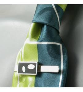 Clip de corbata hombre plata Art Déco Ovala negro
