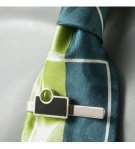 Clip de corbata hombre plata Art Déco Rondo negro