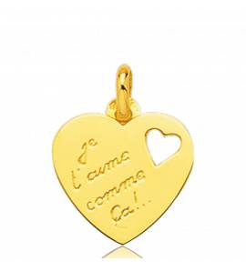 Colgante mujer oro Je T'aime Comme ca corazón amarillo