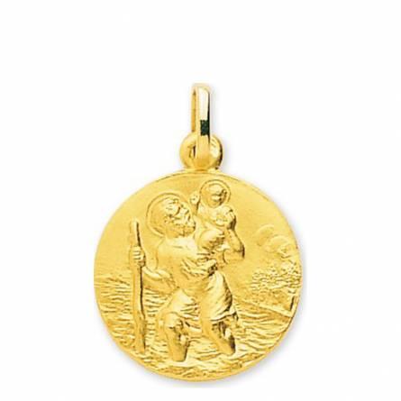 Colgante mujer oro Saint Christophe avec Jésus dans l'eau redondel
