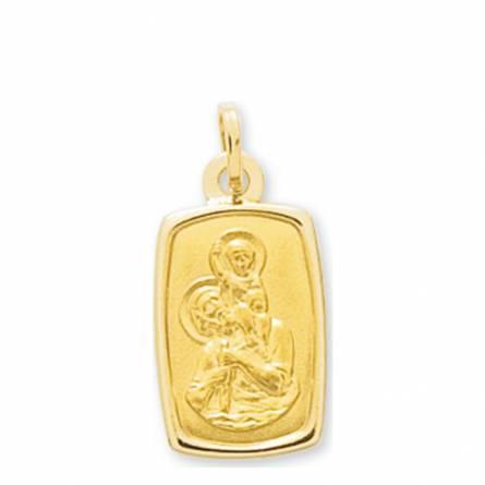 Colgante mujer oro Saint Christophe encadré rectángulo