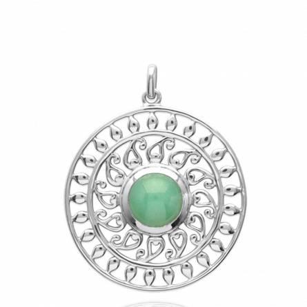 Colgante mujer piedra Bergljot redondel verde