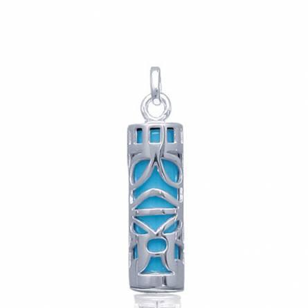 Colgante mujer plata Le Tiki papetee azul