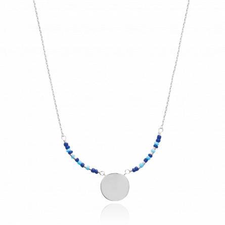 Colier femei argint Adrienne runda albastru
