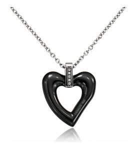 Collana donna ceramica Shanice cuore nero