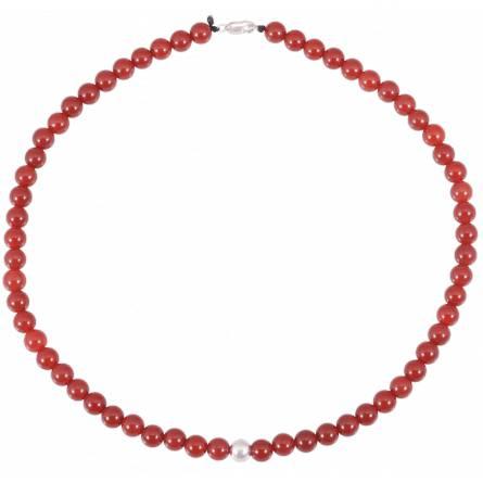 Collana donna pietra Katmandou rosso
