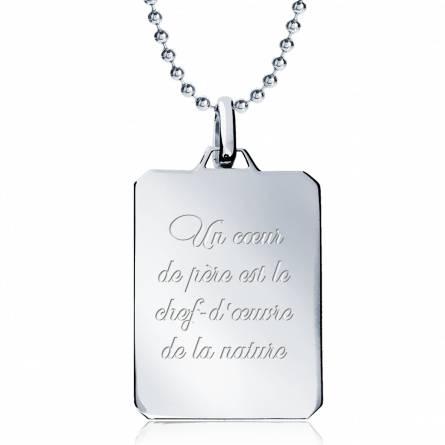 Collana uomo argento Un Coeur de .... rettangolo