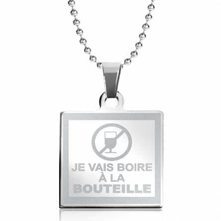 Collar mujer acero Boire A la Bouteille cuadrado