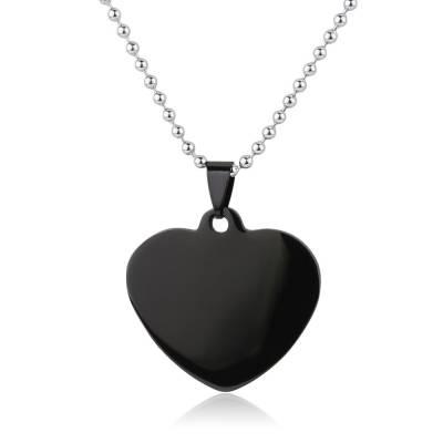 Collier acier coeur noir
