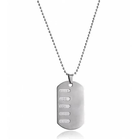 Collier acier plaque militaire Nassia