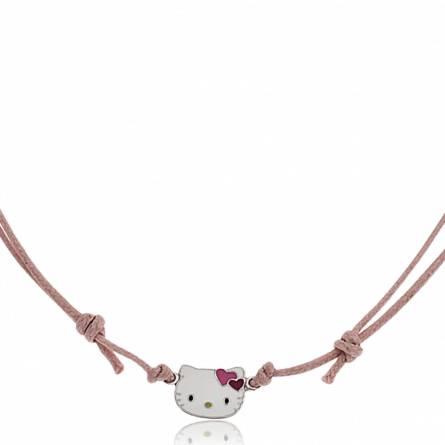 Collier argent et cordon coton Kitty rose Nanor