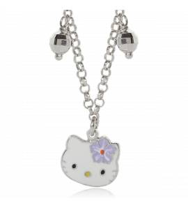 Collier argent facette Kitty violet Naneto