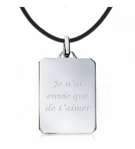 Collier argent homme message amour 4