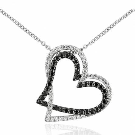 Collier argent rhodié double coeur zirconium