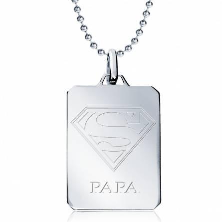 Collier argent Super Papa