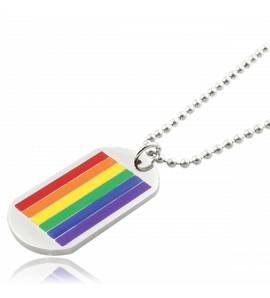 Collier avec pendentif plaque Rainbow