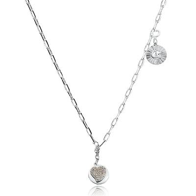 Collier cœur en métal rhodié Venise