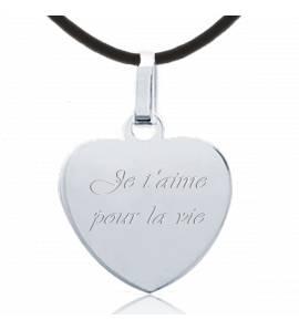 Collier coeur argent message amour 2