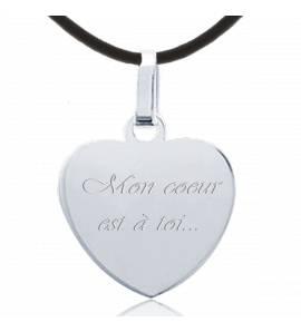 Collier coeur argent message amour 5