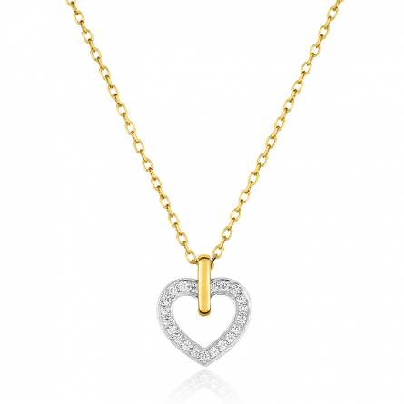 Collier coeur or jaune et zirconium