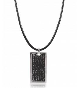 Collier cordon noir volcanique