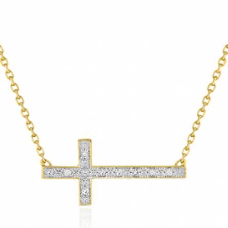 Collier croix or jaune et diamant