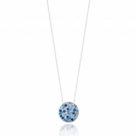 Collier femme argent Azurta ronde bleu